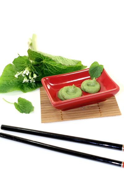 wasabi with leaf and flower