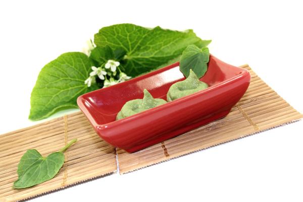 fresh wasabi with leaf and flower