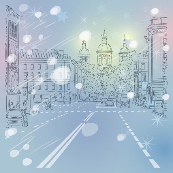 vector christmas winter cityscape avenue