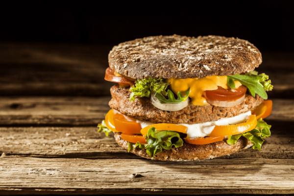 healthy burger on whole grain bun