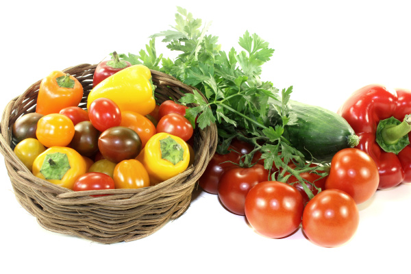 vegetable basket with various colorful vegetables