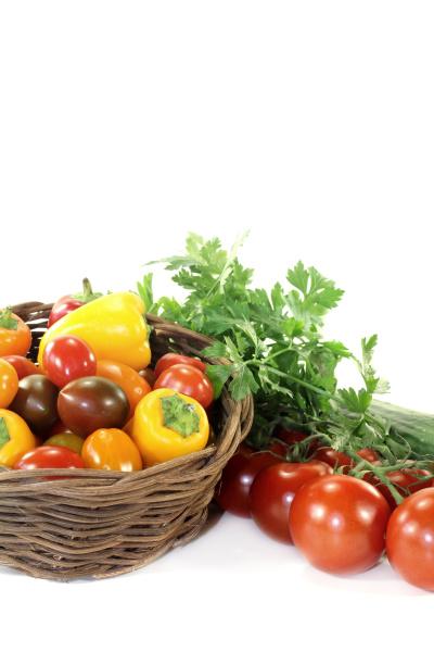vegetable basket with different vegetables