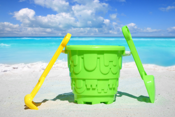 colorful beach toy stands in the