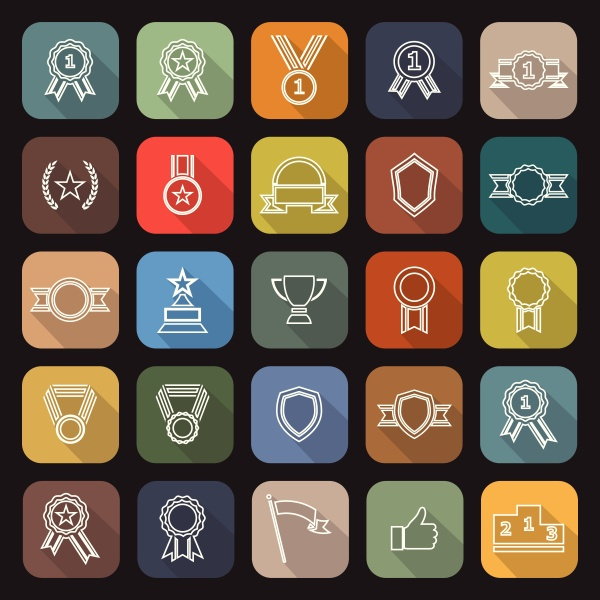 award line flat icons with long