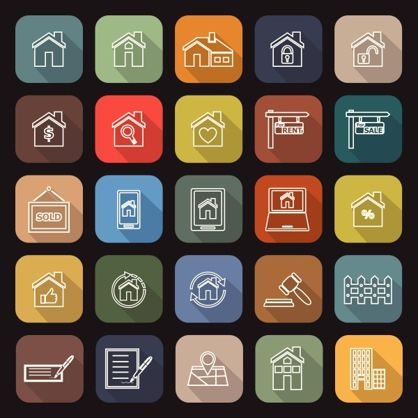 real estate line flat icons with
