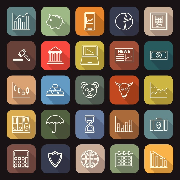 stock market line flat icons with