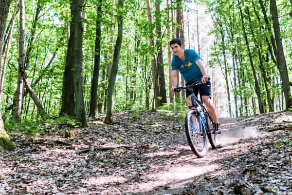 man on mountain bike bike on
