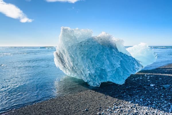 blue iceberg in jokulsarlon glacier lake