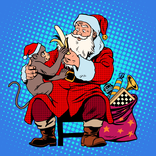 santa claus monkey symbol new year