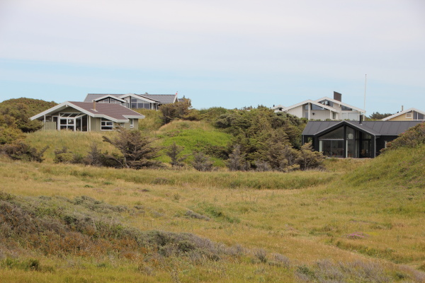 summer houses in green grass hills