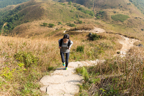woman go for hiking at mountain
