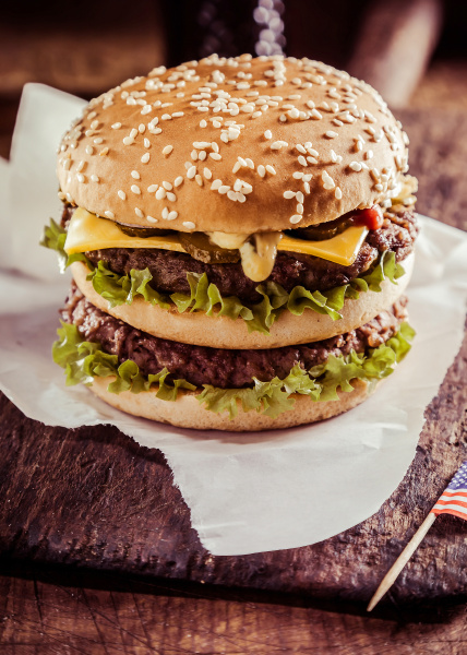 tasty double cheeseburger with beef patties