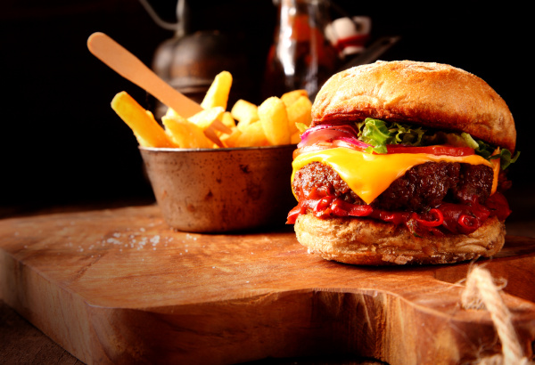 modern fast food homemade burger with