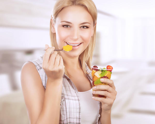 happy, woman, eat, fruit, salad - 16325895
