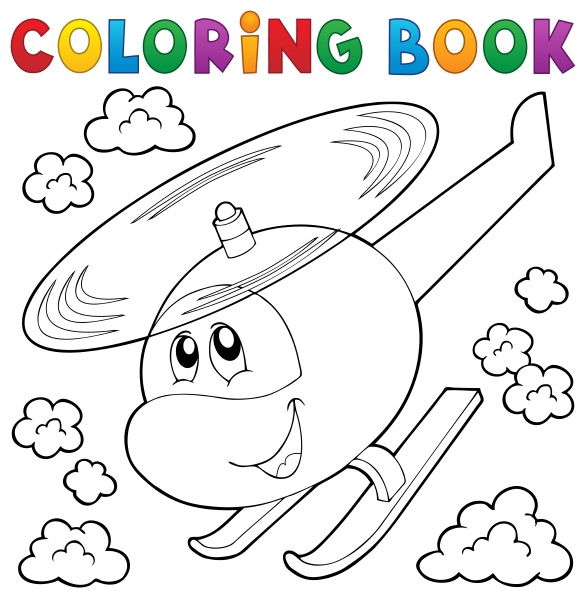 coloring, book, helicopter, theme, 1 - 16328497