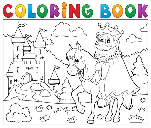 coloring, book, king, on, horse, theme - 16328515
