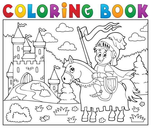 coloring, book, knight, on, horse, by - 16328531