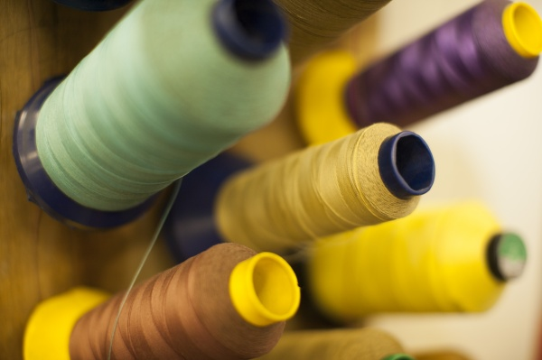 different spools of a sewing machine
