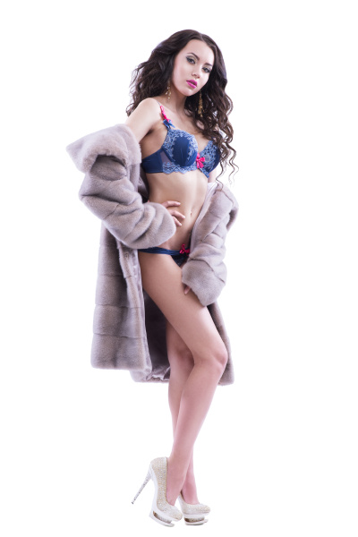half, naked, girl, in, a, fur - 16356349