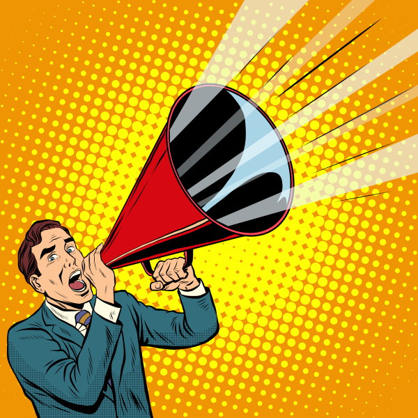 businessman agitator with a megaphone pipe