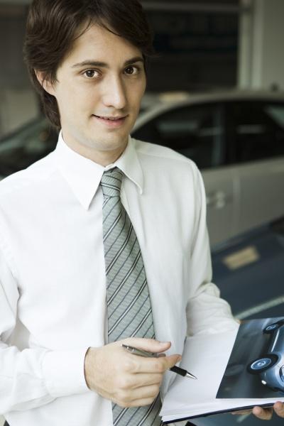 salesman with brochure
