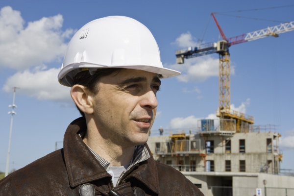 site foreman in hard hat