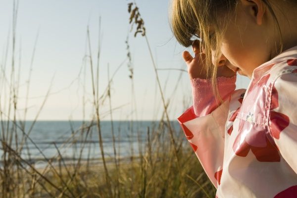 young girl outdoors sea in