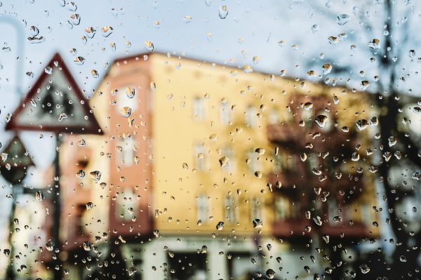 germany view through windscreen with raindrops