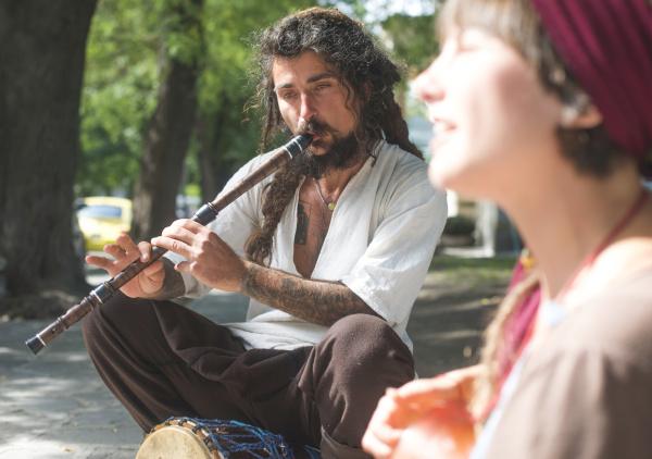 street musician playing flute