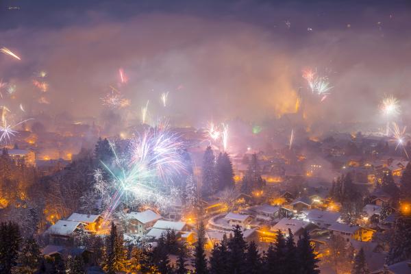 germany bavaria oberstdorf fireworks at new