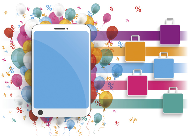 smartphone with colorful balloons shopping bags