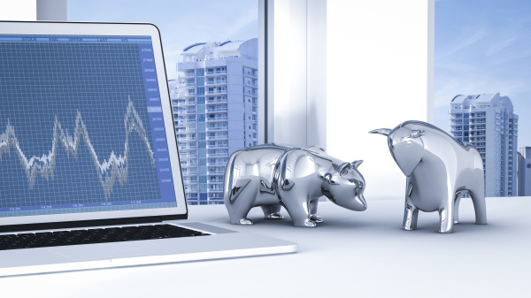 bull and bear on desk with
