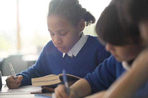 primary school children writing in classroom
