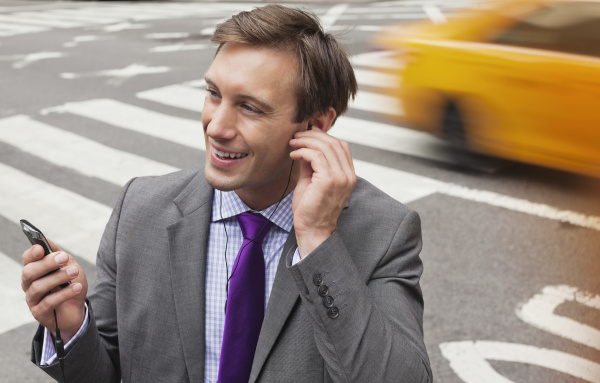 businessman talking on cell phone on