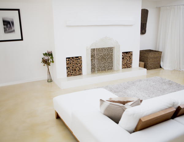 sofa and fireplace in modern living