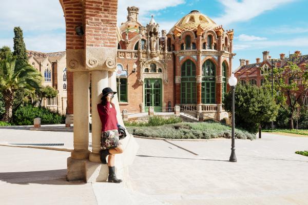 spain barcelona woman taking