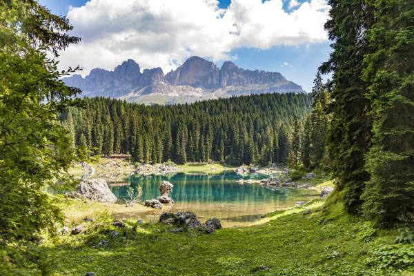 karersee lake at dolomites in latemar