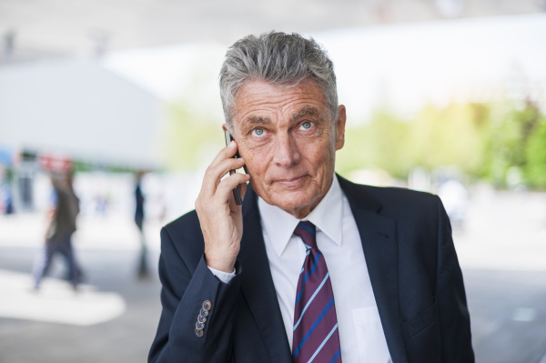 senior businessman on cell phone