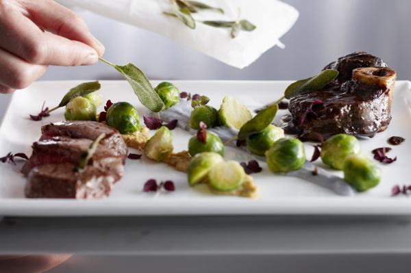 beef leg with sage and brussels
