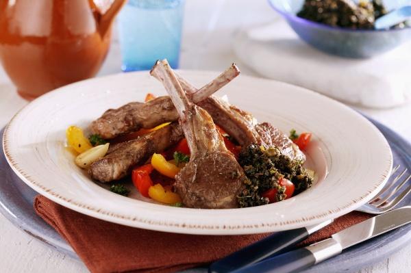 lamb chops on a pepper medley