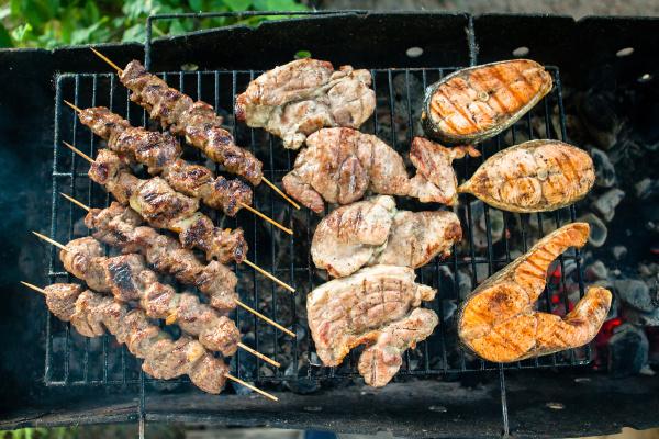 grilled foods garnished assorted grilled