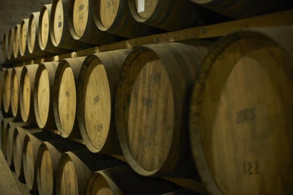 stack of scottish whisky barrels
