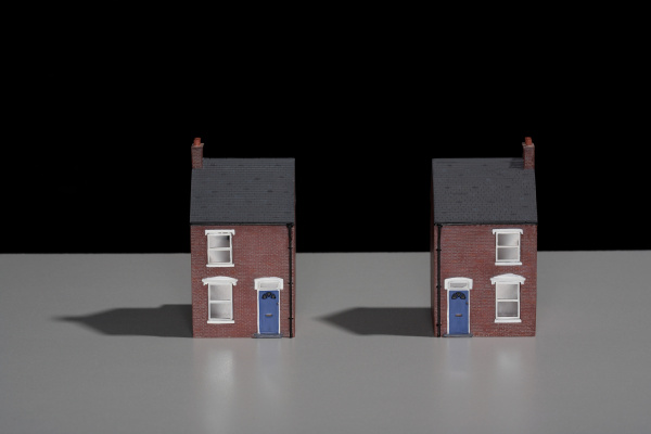 model of a terraced brick house
