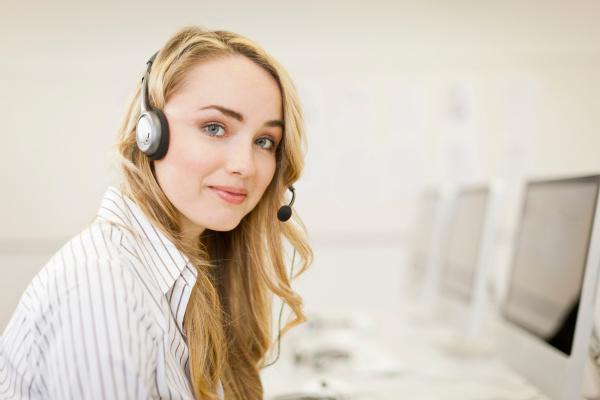 businesswoman working in headset