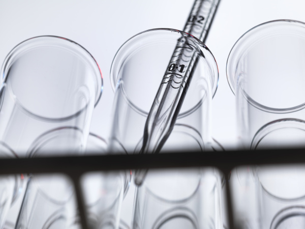 low angle view of graduated pipette