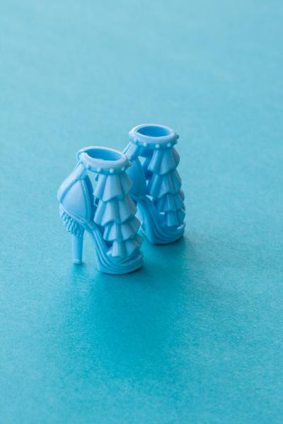 blue high heeled doll shoes