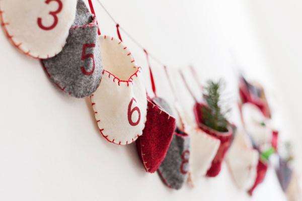 close up of advent calendar on