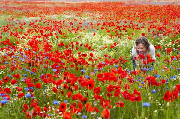 mid adult woman in poppy field