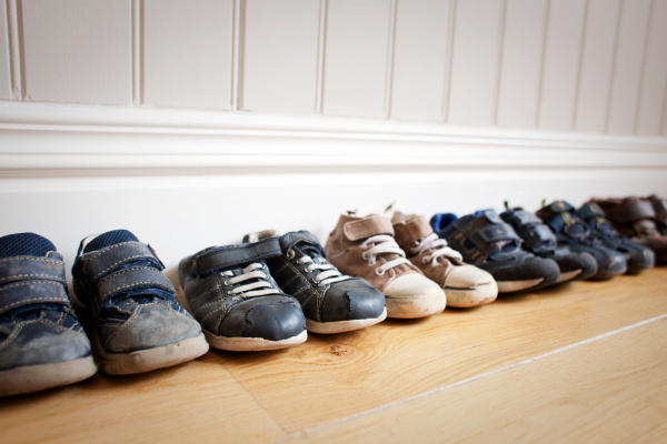 row of little boy s shoes