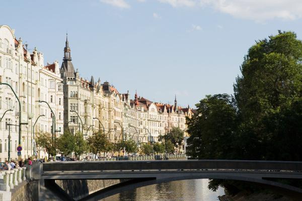 art nouveau buildings and river in